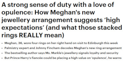 Daily Mail Palmistry Megan Markle