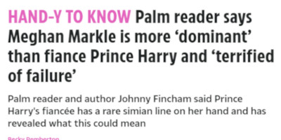 The Sun Palm Reader Megan Markle
